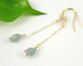 Aquamarine Earrings 14K Gold Filled - Long Raw Aquamarine Stone Earrings - Irregular Shape - March Birthstone