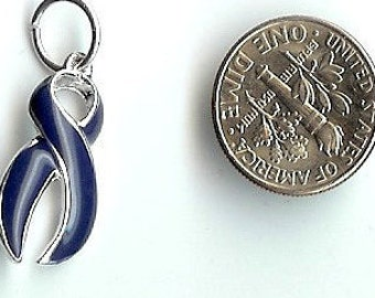 6 BLUE NAVY Awareness  Ribbon Charms Findings