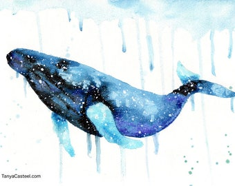 Humpback Whale Spirit Animal ORIGINAL Watercolor 9X12