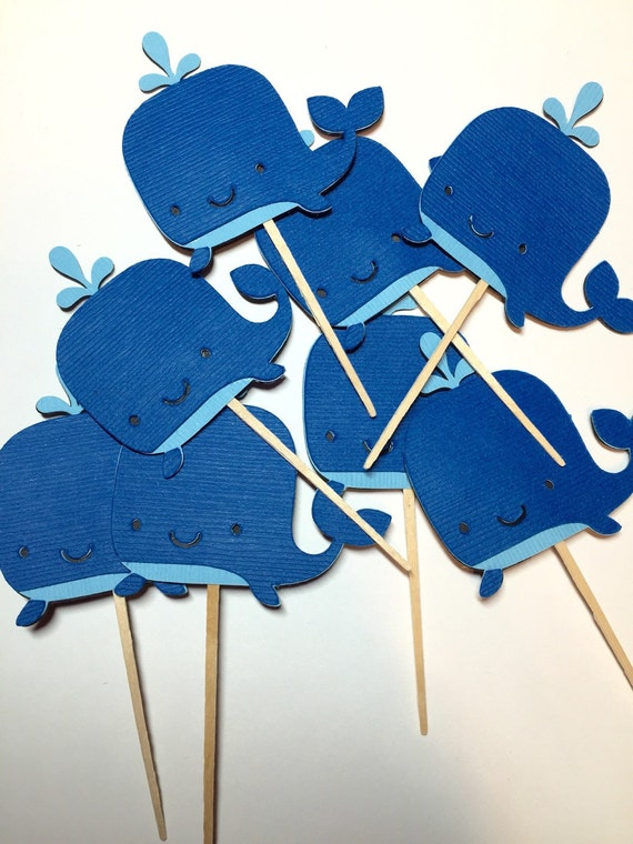 24 Whale cupcake toppers, Nautical Theme Party