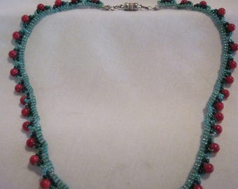 "Hand Beaded Christmas Cranberries...Collar style Necklace... Semi- Precious..19""...766H"