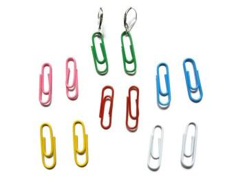 Paperclips earrings, rainbow earrings, silver earrings, DIY earrings, DIY set, blue earrings, pink earrings, red earrings, green earrings