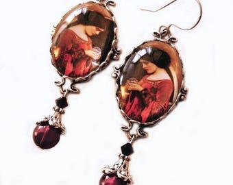 Pre Raphaelite Earrings, Crystal Ball, Waterhouse, Red earrings, Witch Earrings, Red Silver earrings, Goth jewelry, pagan earrings , gift