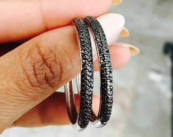 Black diamond pave sterling silver hoop earrings