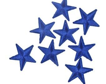 x 3 appliques badge/patch fusible Star Blue 4.2 x 4.2 cm