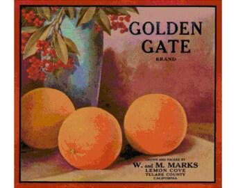 Vintage Golden Gate Orange Label PDF Cross Stitch Pattern