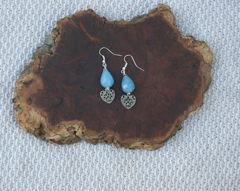 Periwinkle Blue Heart Earrings