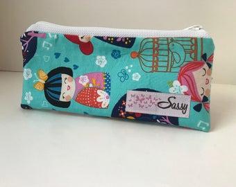 Geisha Girl Fabric Make up Bag, Small Size Cosmetic Bag, Travel Makeup Bag, Lined Makeup Bag
