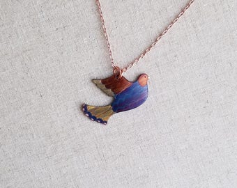 Flame painted copper Dove, pendant