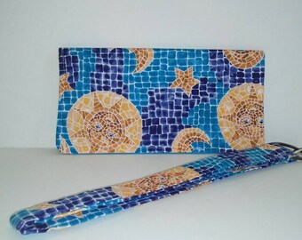 Mosaic Sun Checkbook cover and key Fob