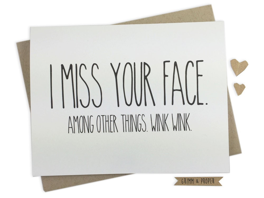 Miss You Card Miss Your Face Love Long Distance
