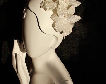 Sample Sale bridal floral headpiece, silk orchid fascinator, silk flower headband, silk flower hairpiece, white orchid wedding headdress