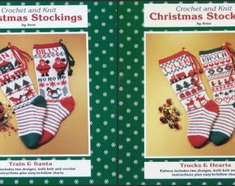 Pdf ~ 4 Fun Christmas Stocking Patterns to Knit & Crochet. Boys an Girls: Train,Santa,Hearts,Trucks. Big Charts Easy Understand Instructions