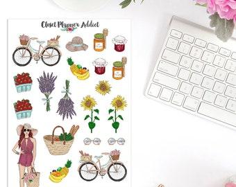 Farmers Market Planner Stickers | Farmers Market | Market Stickers | Lifestyle Stickers | Fruits Stickers | Floral Stickers (S-278)