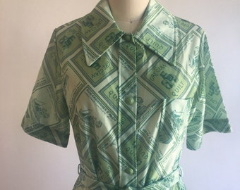 1970s Money Green Phil-Maid Novelty Print House Dress