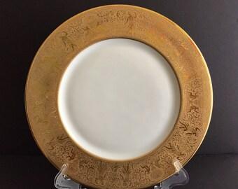 """10 HEINRICH SELB BAVARIA Dinner Plate Gold Rim - 10 3/4"""""""