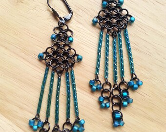 Handcrafted Teal Green Blue Micro Chainmaille Gunmetal Long Fringe Chandelier Earrings Chain Mail Jewelry Jewellery