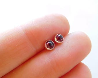 Garnet stud earrings | Gemstone stud earrings | 4mm round earrings | round studs | Small post earrings | sterling post earrings