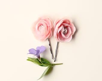 Pink flower hair pins, Rhinestone bobby pins, Pastel floral hair pin set, Ranunculus hair clips, Pink flower clips, bridal hair accessory