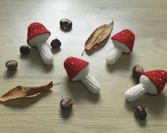 Red mushroom crochet, dinette, toys for children, vegetables, Christmas gift