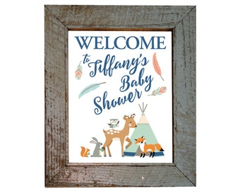 Welcome Sign, Tepee Woodland Baby Shower or Birthday, Gender Neutral, Woodland Animals Welcome, Tepee, feathers, arrows, tribal inspired