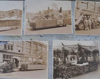 5 Vintage Parade Photos, Black and White 8 by 10 photos, California Parade Photos