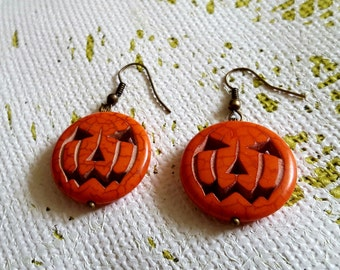 EARRINGS: Stunning for Halloween Carved Wooden Pumpkin Earrings