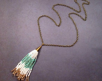 Beaded Tassel Necklace, Southwestern Style Pendant Necklace, Brass Chain Necklace, FREE Shipping U.S.