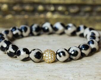 Agate Bracelet, Beaded Bracelet, Stretch Bracelet, Crystal Bracelet, Stack Bracelet, Boho Bracelet, Tibetan Agate Bracelet, Stretchy