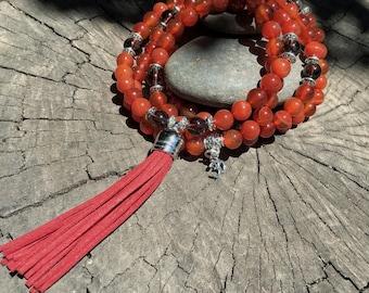 CARNELIAN & GARNET Mala Beads with RED Suede Tassel | 108 Bead Crystal Mala Yoga Necklace | Om Meditation Beads by Mayan Rose MayanRose