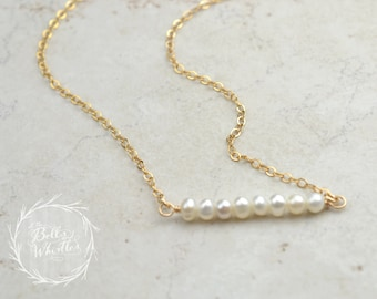 Pearl Necklace, Beaded Bar Necklace, Pearl beaded bar, Delicate Necklace, Sterling Silver, Gold Filled, Rose Gold