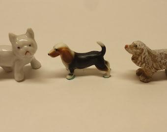Three Dogs Vintage Ceramic Mini Dog Figurines Bassett Hound - Spaniel - White Terrier