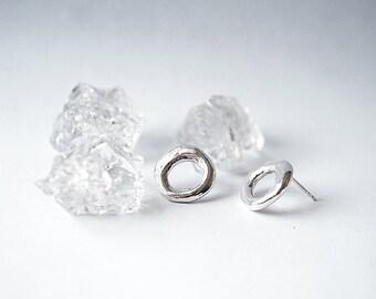 DONUT stud earrings - sterling silver or bronze
