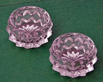 Two Vintage 1950s SALT DIPS FOSTORIA American Crystal Individual or Dishes In Excellent Condition