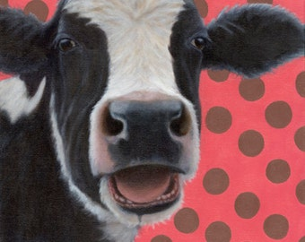 Holstein Cow Painting in Oil - Holstein Cow Art - Cow Painting - Black and White Cow Painting - Proceeds Benefit Animal Charity