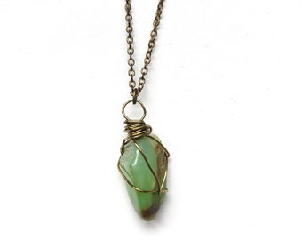 Chrysoprase Necklace with hidden oil diffuser stone