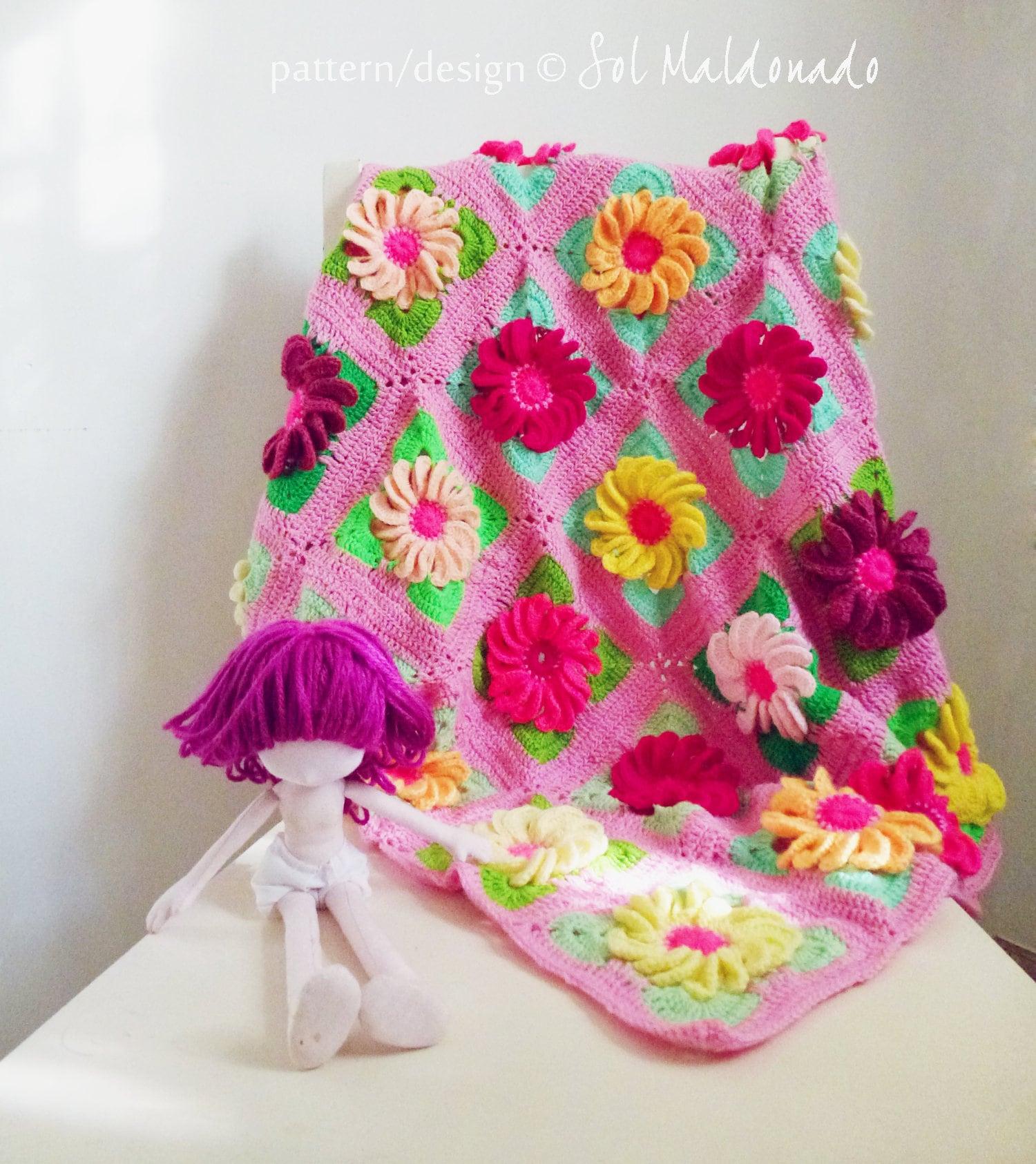 CROCHET PATTERN Baby Blanket crochet pattern 3D Flower Gerbera