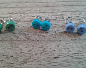 Tiny Bright Button Stud Earrings