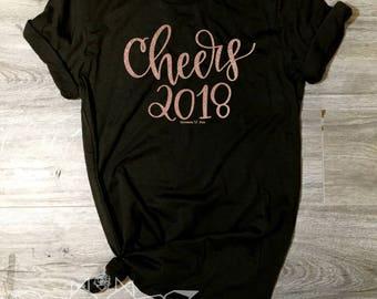 New Years Eve Shirt, Cheers 2018 Shirt, Cheers Shirt, NYE Tee, Cheers 2018 Shirt, Women's New Years, Ring in the New Year, ROSE Gold SHIMMER