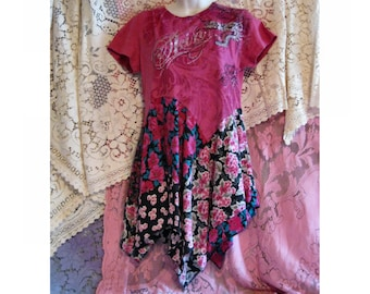 REDUCED, Tunic, Altered Couture, Eclectic, Bohemian, Junk Gypsy, Whimsical, Shabby couture eco repurposed clothing, skin, Paris look, Q54