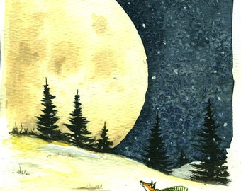 2016-17 Little Red Fox Series  -  no 2.  Little Red Fox and Super Moon -  Signed Print