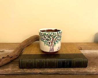 Hand Painted Coffee Cup / Seasons / Summer / Thumbprint / Wheel Thrown and Altered / Bluebird Raku