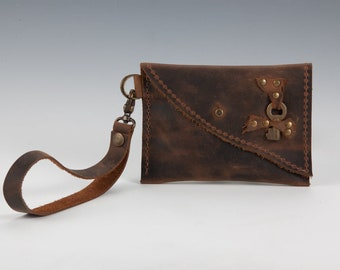 OOAK Rustic Brown Leather Mini Purse, Leather Wristlet Coin Purse with Bolt button and Antique Key, Leather Change Purse, Leather Coin Pouch