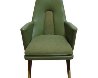 Vintage Green Vinyl Mid Century Commander High Back Throne Lounge Chair A