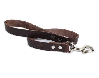 2' Brown Leather Traffic Dog Leash