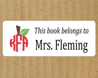 Apple Monogram Book Labels, 90 Labels, Apple Monogram, Teacher Labels, Book Labels, Teacher Book Labels, Apple Book Labels, Library Labels