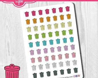 Trash Can Planner Stickers, Deco Stickers, Garbage Can Stickers, Garbage Day Stickers, Erin Condren, Personal Planner, Trash Stickers