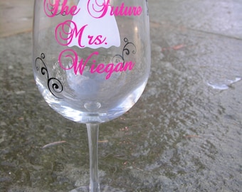 Future Mrs. Bride wine glass with dress and flourishes.  Personalize with any colors and your name.