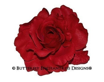 Red Mckenzie Rose Bridal Hair Flower Clip