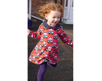 Girl Baby Girl Dress sewing pattern Pdf, SASSY Dress, Knit Jersey Dress, Short and Long Sleeve, Peter Pan collar, newborn - 10 yrs